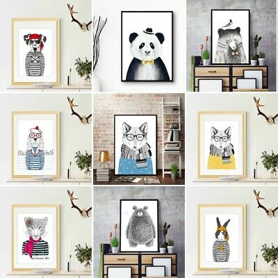 Decor Cartoon Animal Canvas Art Print Oil Painting Wall Picture Home Unframed