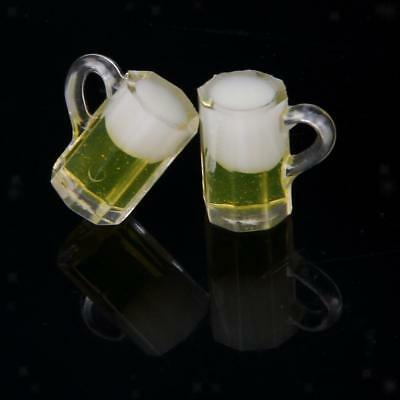 PAIR Glass Beer Cup Party Pub Kitchen Bar Accessory 1:12 Dollhouse Miniature