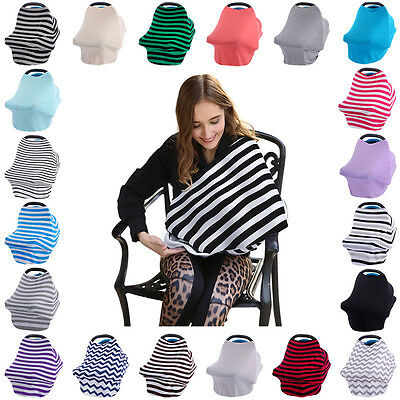 2 in 1 Breastfeeding Baby Car Seat Canopy Cover Nursing Scarf Cover Up Apron New