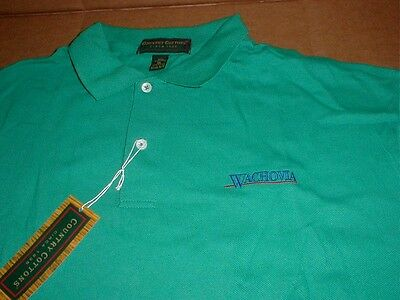 New Wachovia Bank Wells Fargo Charlotte NC made n USA golf polo shirt XL vintage