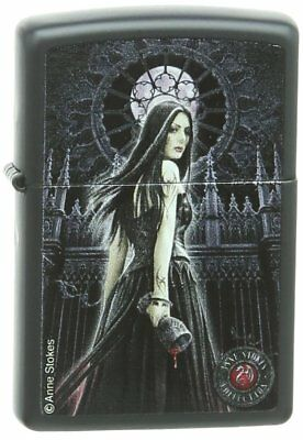 Zippo Pocket Lighter Anne Stokes Woman with Cup Pocket Lighter, Black Matte