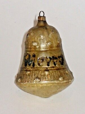 Merry Christmas German Antique Glass Bell Figural Christmas Ornament 1900's