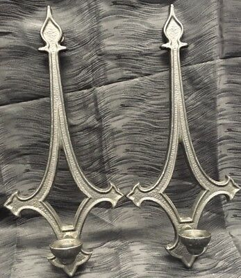 """Vintage 17"""" Gothic Medieval Style Cast Metal Candle Holder Wall Sconce Set Pair"""