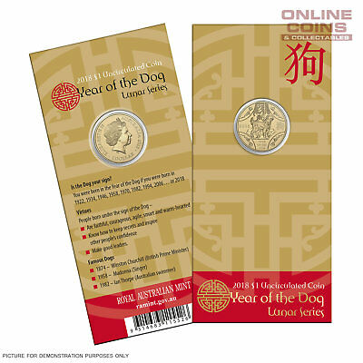 2018 Royal Australian Mint Uncirculated $1 Carded Coin Lunar Year of the Dog