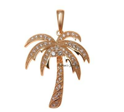 Rose Gold Plated 925 Sterling Silver Hawaiian Palm Tree Pendant Cz 25.25Mm