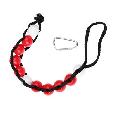 18mm Diameter Beaded Golf Stroke Counter with Carabiner Clip - Red/White