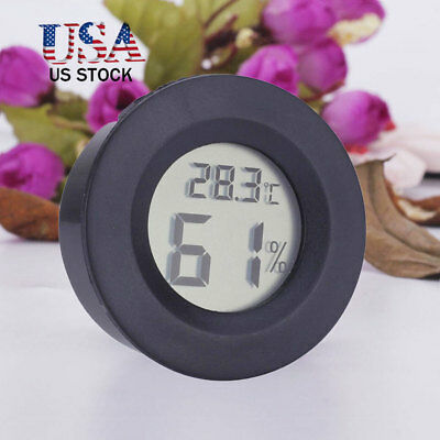 Digital Cigar Humidor Hygrometer Thermometer Temperature Round BLACK NEW US