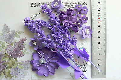 Dark PURPLE Mix - 17 Flowers & Sprays 9 Styles 4 Tones PAPER Approx 10-50mm VD1