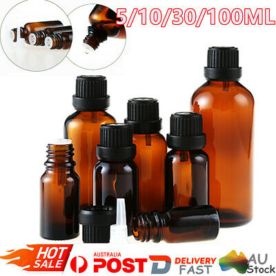 5/10/30/100ml Amber Glass Essential Oil Bottle Dropper Orifice Reducer Container