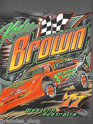Speedway Super Sedan 77 Kodee Brown T Shirt Size S  Mens motor racing