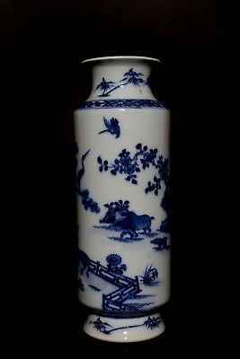 Amazing China Blue And White Landscape Porcelain Vase Marks YangHe MinGuo FA588