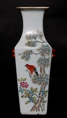 Spectacular Unique Chinese Antique Porcelain Square Bottle Vase Marked FA567