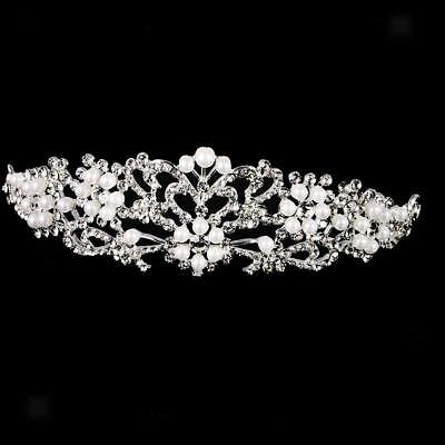 Princess Crystal Rhinestone Pearl Flower Crown Wedding Bridal Tiara Headband