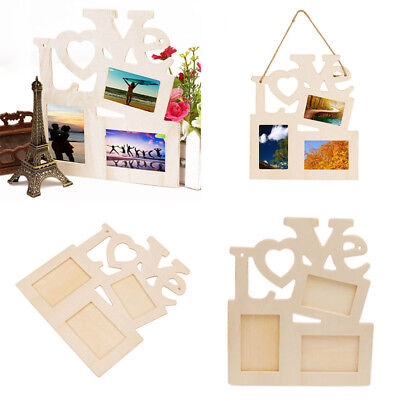 Newly DIY Love Painting Hollow Wood Blank Picture Home Decor Gift Photo Frame
