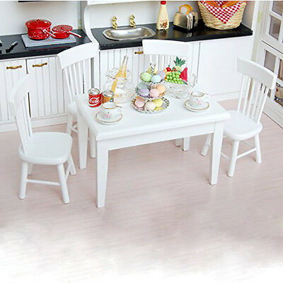 5pcs 1:12 Wooden Kitchen Dining Table Chair Set Barbie Dollhouse Furniture White