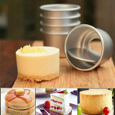 5Pcs 2'' DIY Mini Cake Mould Pan Removable Bottom Pudding Mold Baking Tools
