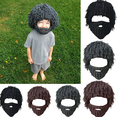 Unisex Adults Braided Beard Beanie Knit Hat Winter Face Mask Hats Warm