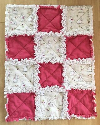 Handmade Brand New Shabby Chic Patchwork Baby Quilt  Pram Moses Basket 65 x 50cm
