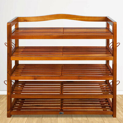 5 Tier Wooden Shoe Rack Storage Organiser Stand Cabinet Home Footwear Natural