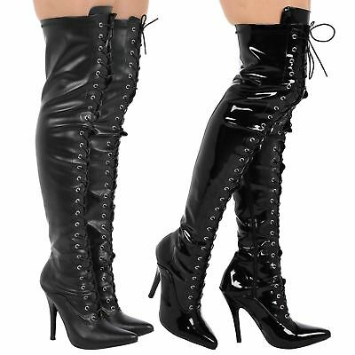 Cameron Mens Sizes Lace Up Thigh High Boots Sexy Over Knee Stilettos Heels New
