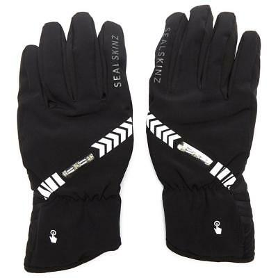 Black Sealskinz Halo All Weather Cycling Gloves Outdoor Clothing Black