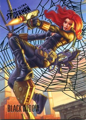 Spiderman Fleer Ultra 2017 Silver Parallel Base Card #54 Black Widow