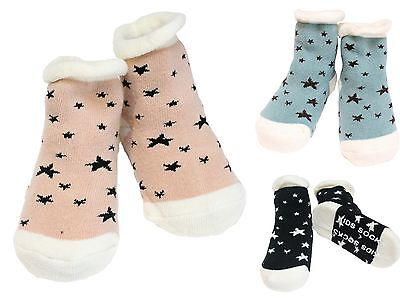 Pack of 3 Baby Boys Girls Sneaker Stars Winter Non-slip Ankle Grip Socks