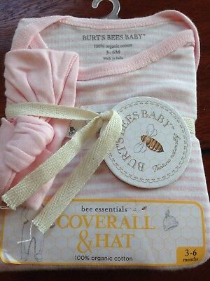 NWT Burt's Bees Baby Coverall And Hat Set 3-6 Months Pink Girls Infant Organic