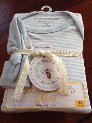 NWT Burt's Bees Baby Coverall And Hat Set 0-3 Months Blue Infant Organic Cotton