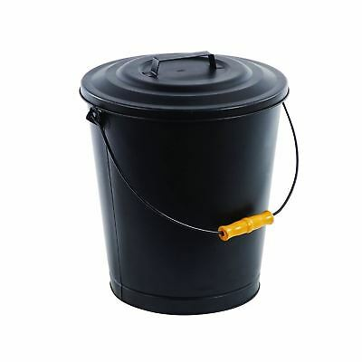 Pleasant Hearth Fireplace Ash Bucket with Lid, Black