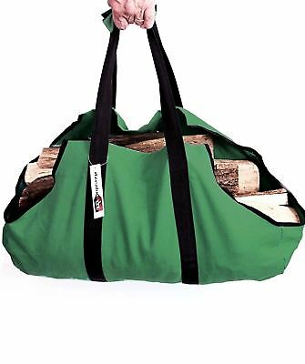 Dzealo Canvas Log Carrier / Tote - Wood Bag Firewood Fire Heavy 16oz with...