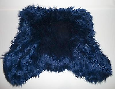 POTTERY BARN PB TEEN Furrific Faux Fur Lounge Around Pillow Cover, NAVY, NEW