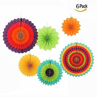 Cisixin Set of 6 Party Wedding Decorations Paper Fans Oriental Fan Chinese