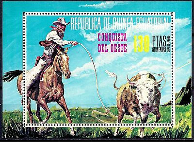 Equatorial Guinea 1974 The Wild West Cowboy hunting Bull Cattle Horses Animals