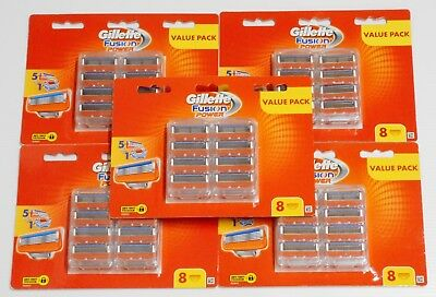 New 5 Value Packs Gillette Fusion Power Razo of 8 Cartridges (40 Shaving Blades)