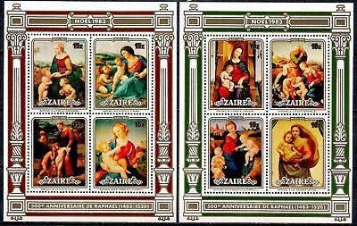 Zaire 1983 Christmas Raphael Paintings Arts Religion 2x m/s MNH