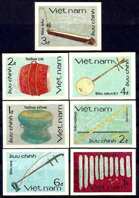Vietnam 1985 Music Musical Instruments Stringed Pipes Drums 7v Imperf MNH/2