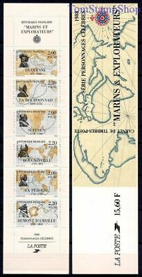 France 1988 Red Cross Fund Explorers Route Maps Voyages Compass bklt MNH