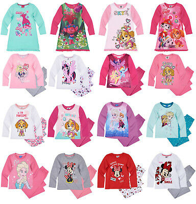 Girls Kids Official Licensed Disney Various Character Long Sleeve Pyjamas PJs 18