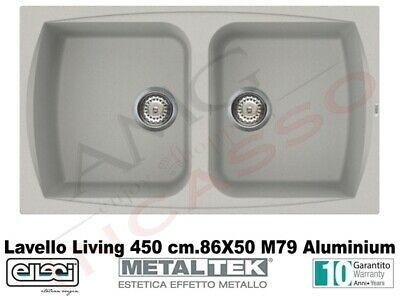 Lavello Elleci Fox 360 LMF36079 86X50 1 Vasca Fragranite Metaltek M79 Aluminium