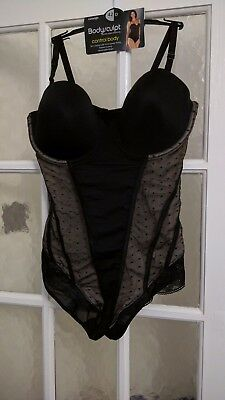 NEW GEORGE size 42D black & nude lacy padded underwired bra body
