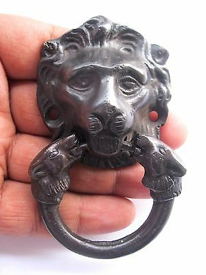 Vintage Antique Style Hand Made Solid Brass Lion Small Door Knocker Handle