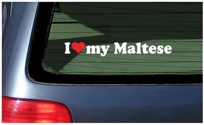 I Love My Maltese Sticker Vinyl Decal Car woof Dog Puppy