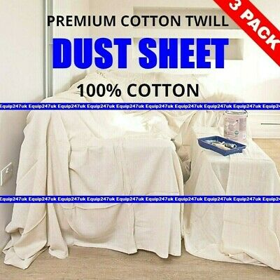 3 x NEW PROFESSIONAL COTTON DUST SHEETS PAINTING DECORATING ( 12/5- 3  PACK )