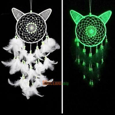 White Cat Dream Catcher Feather Bead Wall Car Hanging Decor Ornament Gift Craft