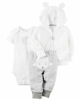 New Carter's 3 Piece White Cardigan Terry Lamb Face Rear Pant Set NWT n 3m 6m 12