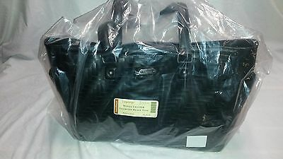 Longaberger Stairstep Weave Tote Black Purse Woven Leather