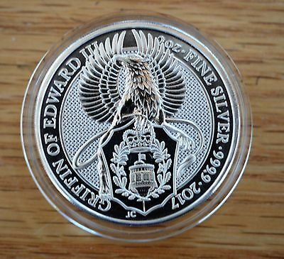 2 oz BU THE QUEEN'S BEAST- THE GRIFFIN- Great Britain Sterling- Capsule Included