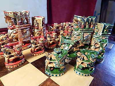 Complete Chess Set Hand Carved Wood Elephant Collectors Vintage Large King 8 cm