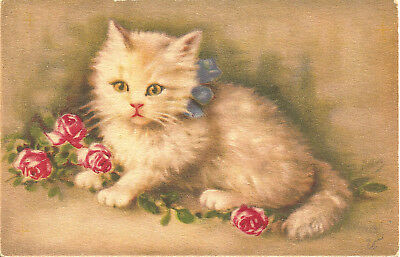 White Kitten with Pink Roses Antique Vintage French Postcard